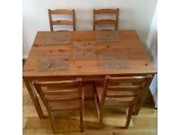 Dining table, 4 X chairs and dining accessories