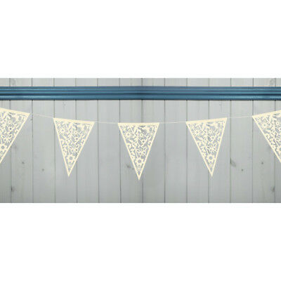 Vintage Ivory Lace Bunting Garland Wedding Party Birthday Decoration 20 Flags
