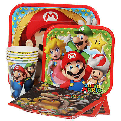 Super Mario Brothers Party Express Pack for 8 Guests (Cups Napkins & Plates)  (Super Mario Brothers Decorations)