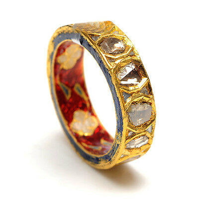 18K Yellow Gold Rose Cut Diamond Enamel Design Band Ring Indian Ethnic Jewelry