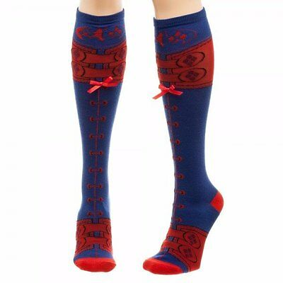 Harley Quinn Suicide Squad Faux Lace Up Knee High Socks DC Comics Licensed