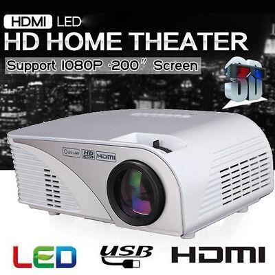 5000 Lumens 3D 1080P Full HD LED Projector HDMI USB AV VGA TV Home Video Theater