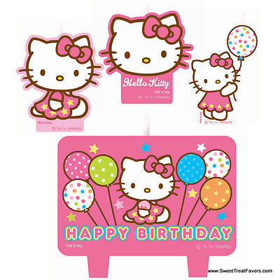 HELLO KITTY Party Birthday Favors Candle Cake Topper Kit Cat Cupcake Decoration  - Hello Kitty Cake Kit