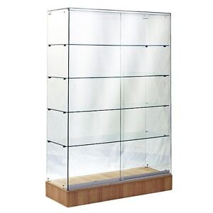 #SAGW4M 6'TALL FULL VISION ALL GLASS WALLCASE TROPHY GLASS DISPLAY CASE MAPLE