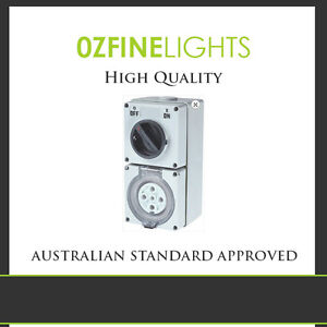 32 Amp Industrial weatherproof combination switch 5 pin  socket 3 Phase SAA APRV