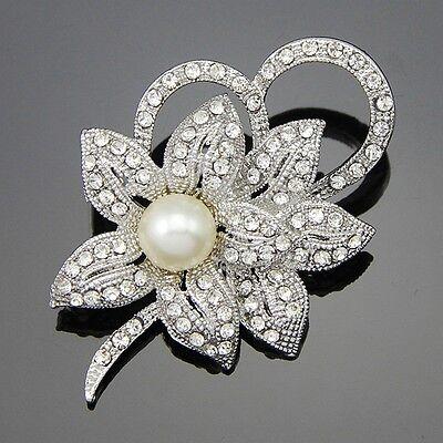 Hot Vintage Rhinestone Crystal Wedding Bridal Bouquet Flower Pearl Brooch Pin