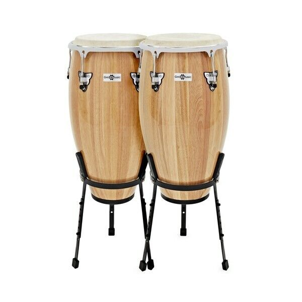 Conga Drums 11.75'' + 12.5'' Set with Stands by Gear4music