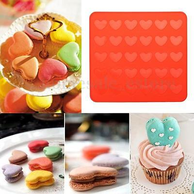 30 Hearts Silicone Pastry Cake Macaron Macaroon Oven Baking Mould Sheet Mat DIY