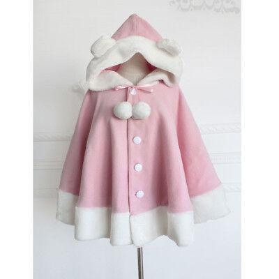 Sweet Kawaii Pink Teddy Bear Ears Lolita Cape Coat Harajuku