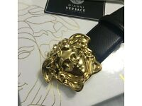 Gold buckle mens leather belt black elegant versace boxed perfect gift