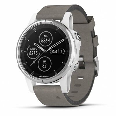 Garmin fenix 5S Plus White GPS Watch With Gray Suede Band, Music + Mobile Pay
