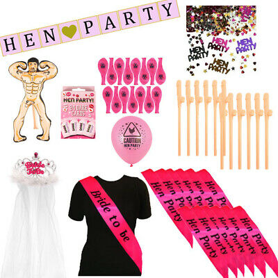 FOR 12 HENS - HEN PARTY COMPLETE KIT GIRLS NIGHT OUT DO BRIDE TO BE ACCESSORIES