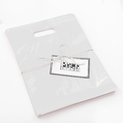 100 11x15 FROSTED Plastic Retail Die-Cut Handle Merchandise Bag - Boutique Frosted Die Cut Merchandise Bag