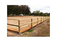 PADDOCK FENCING Horse Menage Arena Fencing Erected Horse, Post & Rail, Half Round, Norfolk & Suffolk