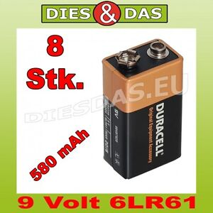 8 piece duracell 9 volt battery mn1604 6lr61 e block bulk. Black Bedroom Furniture Sets. Home Design Ideas