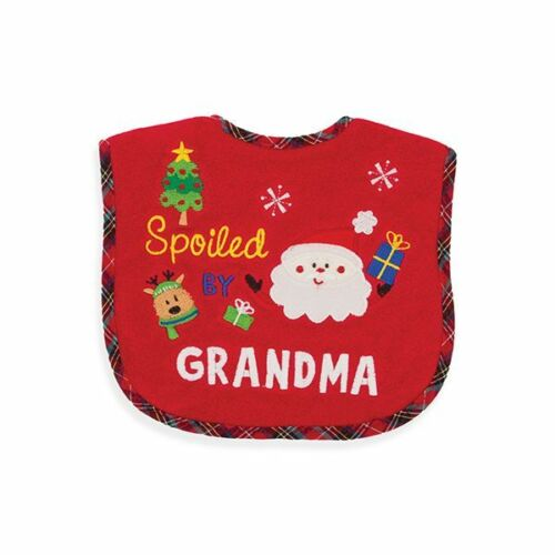 Christmas Baby Bib Boy or Girl Spoiled by Grandma NIP