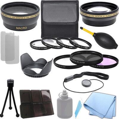 Lens Bundle 52mm 0.43x Wide Angle, 2.2x Telephoto, Kits for Nikon D3000 D3100