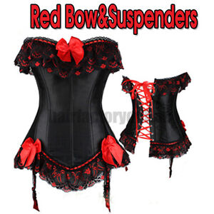 Bustier Corset Top Burlesque Basque Moulin Rouge Fancy Dress Boned Corsets UK