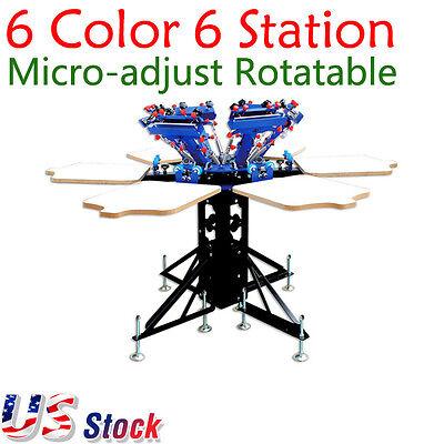 Us 6 Color 6 Station Screen Printing Machine Micro-adjust T-shirt Printer