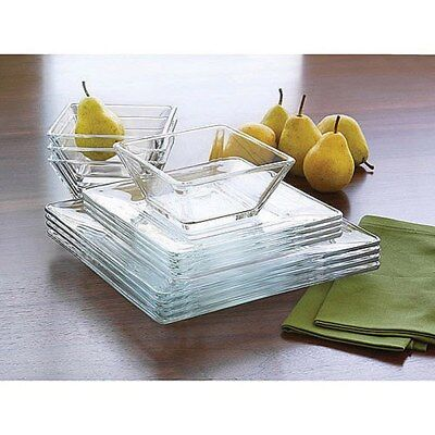 12 Piece Square Dinnerware Glass Clear Dishes Salad Plate Bowl Kitchen Set for 4