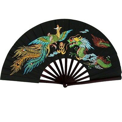 DRAGON PHOENIX BAMBOO WOOD BLACK FAN Kung Fu Tai Chi Martial Arts Hand Wushu