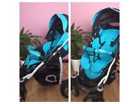 Black and turquoise stroller/buggy/pushchair
