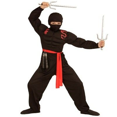 4 tlg. Kinder Muskel Ninja Kostüm Samurai rot schwarz Muskelshirt 128 140 158