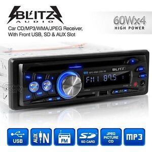 BLITZ Audio Single DIN Headunit 60Wx4 High Power Car MP3 Radio CD USB SD Player