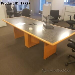 8ft Boardroom Table, Sugar Maple w/ Grey Surface and Power Dock