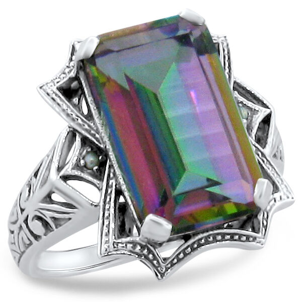 6 CT MYSTIC QUARTZ & PEARL ANTIQUE STYLE 925 STERLING SILVER RING SIZE 8    #274