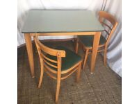 1950s Green Topped Table & 2 Chairs by Stoe
