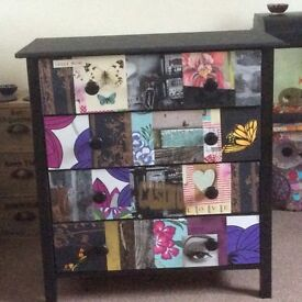 Hand Decorated Chest of Draws,Protective layer all over