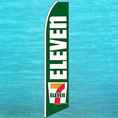 Seven 7 Eleven Flutter Flag Tall Curved Advertising Sign Feather Swooper Banner