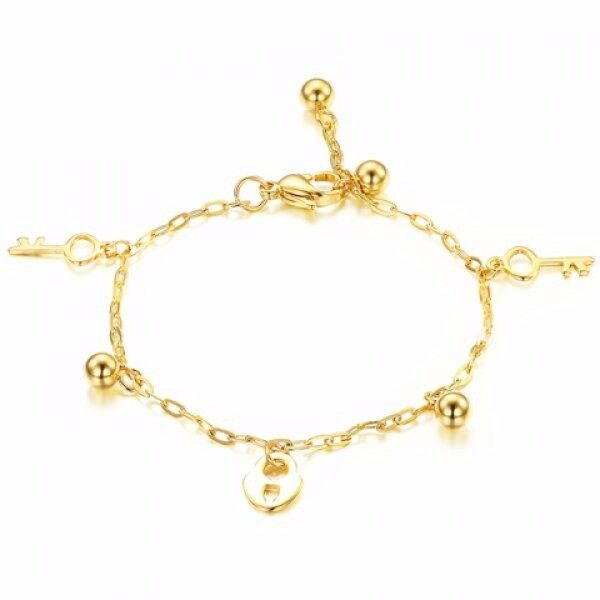 Stylish Lock Beads Decorated Anklet For Women