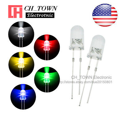 5 Lights 500pcs 5mm Led Diodes Water Clear White Red Yellow Blue Green Mix Kits