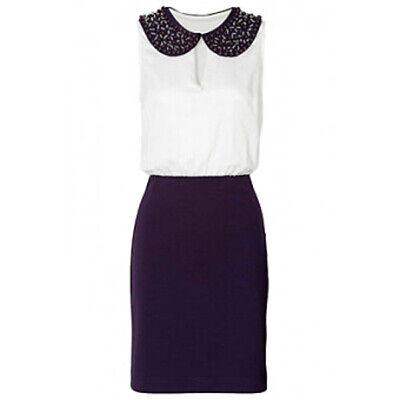 Kleid mit Perlenbesatz, Peter Pan Kragen in Lila / Weiß Gr. 36 und 38 online kaufen