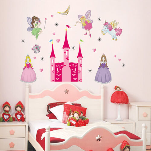 Princess Fairy's Pink Castle & Pony Removable Wall Sticker Girl Kid Home Nursery