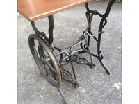 Hurtu French antique sewing machine treadle, with table top.