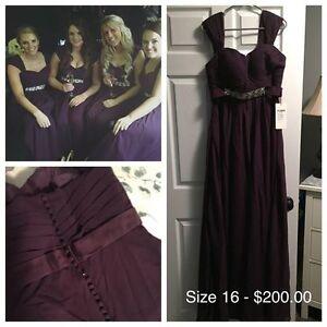 BNWT- Plum Bridesmaid Dress - Size 16 & Matching Groomsman Tie