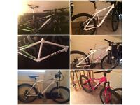Huge job lot of bike frames and parts mtb/hardtail/enduro/downhill