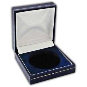 Coin Medal Presentation Box Display Case Single Coin 44mm Navy Blue