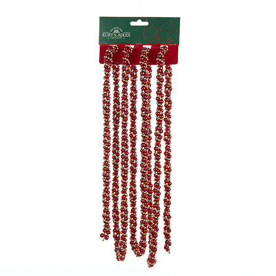 KURT S. ADLER 9' RED & GOLD TWISTED BEAD CHRISTMAS TREE GARLAND DECORATION