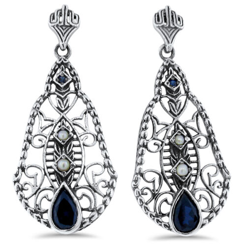 ANTIQUE DECO DESIGN  LAB SAPPHIRE  925 STERLING SILVER FILIGREE EARRINGS,   #400