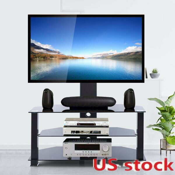 """3 Tier Black Floor TV Standing Table with Mount for 32""""-70"""" LED LCD Screen TVs"""