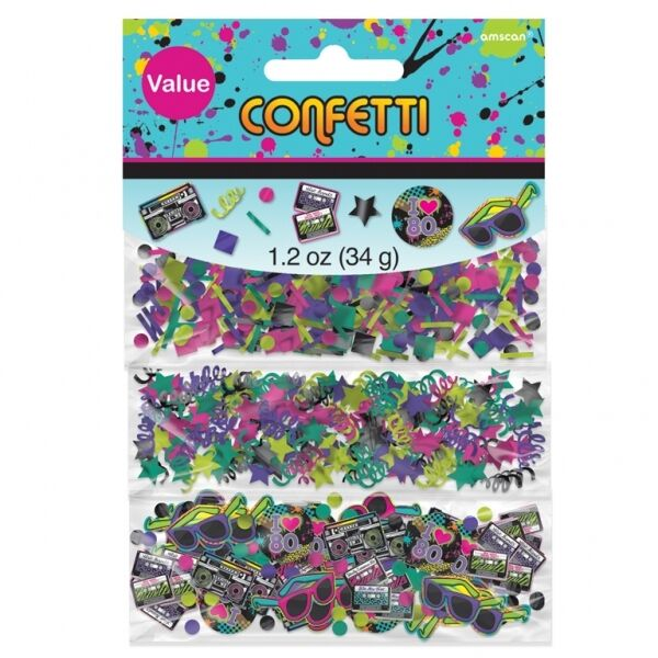 Totally 80's Confetti, Pack of 3  - party decorations