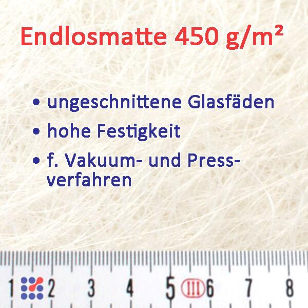 GLASMATTE, GLASVLIES, GLASFASERMATTE F. POLYESTERHARZ  EPOXIDHARZ POLYESTERVLIES Endlosmatte 450 g/m²