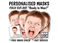 10 x Personalised Card Face Masks, Surprise Party extra! UPLOAD YOUR PHOTO we'll create your masks.