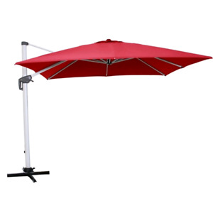 Allen + Roth Square Offset Patio Umbrella - Red - Brand New
