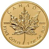 1 oz Canadian Gold Maple Leaf Coin (.9999 Pure, Varied Year)