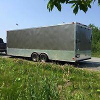 2014 Enclosed car hauling trailer. 24'+4' vnose